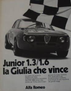 pubblicità della Giulia GT Junior
