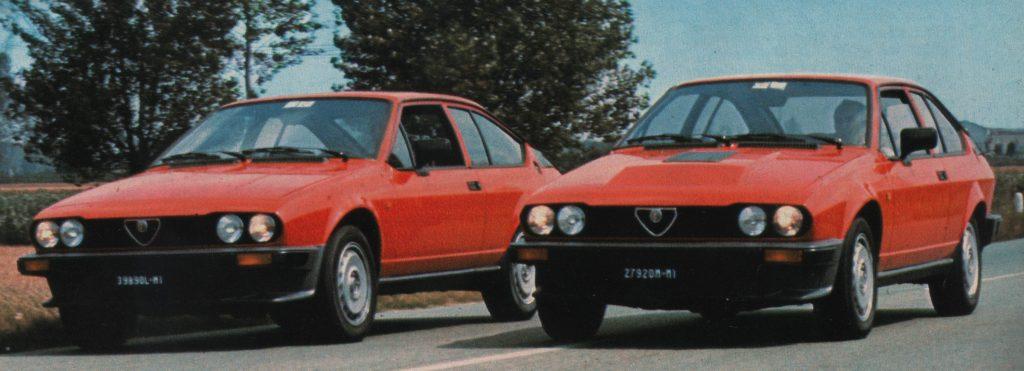 le Alfetta GTV nelle versioni 2000 e 2500 cmc